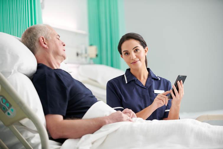 Nursing holding mobile device