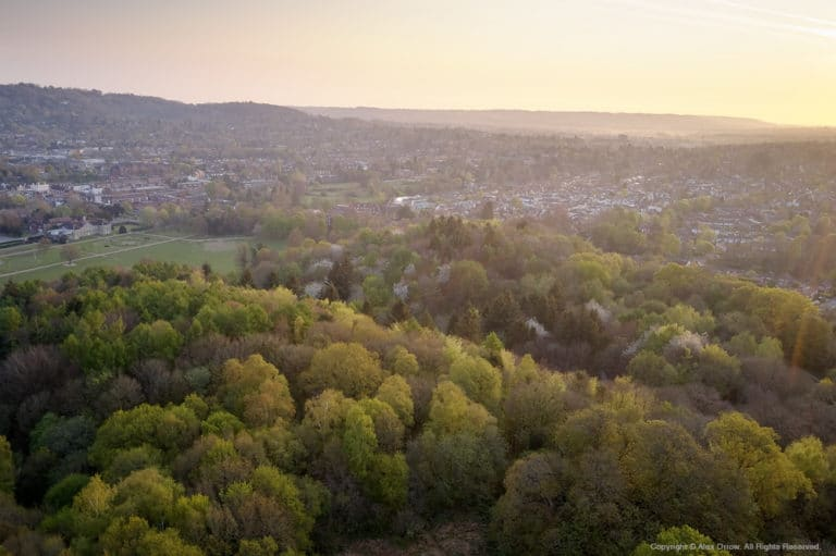 Aerial drone view of Reigate