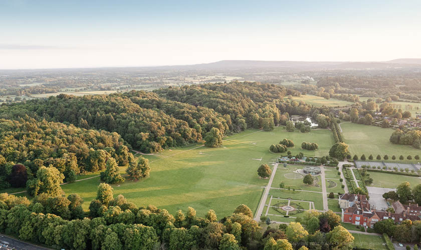 Drone view of Reigate Priory Park