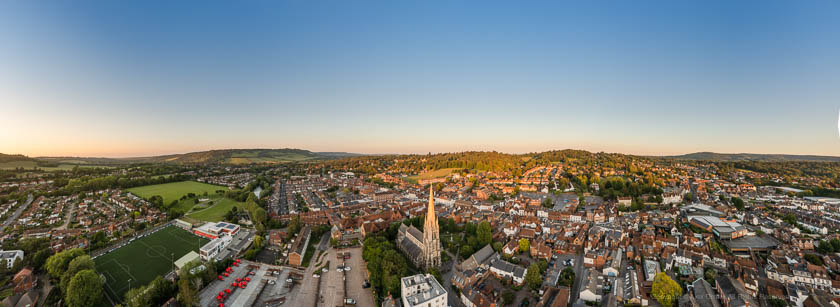Panoramic Drone view of Dorking Town Centre during sunset