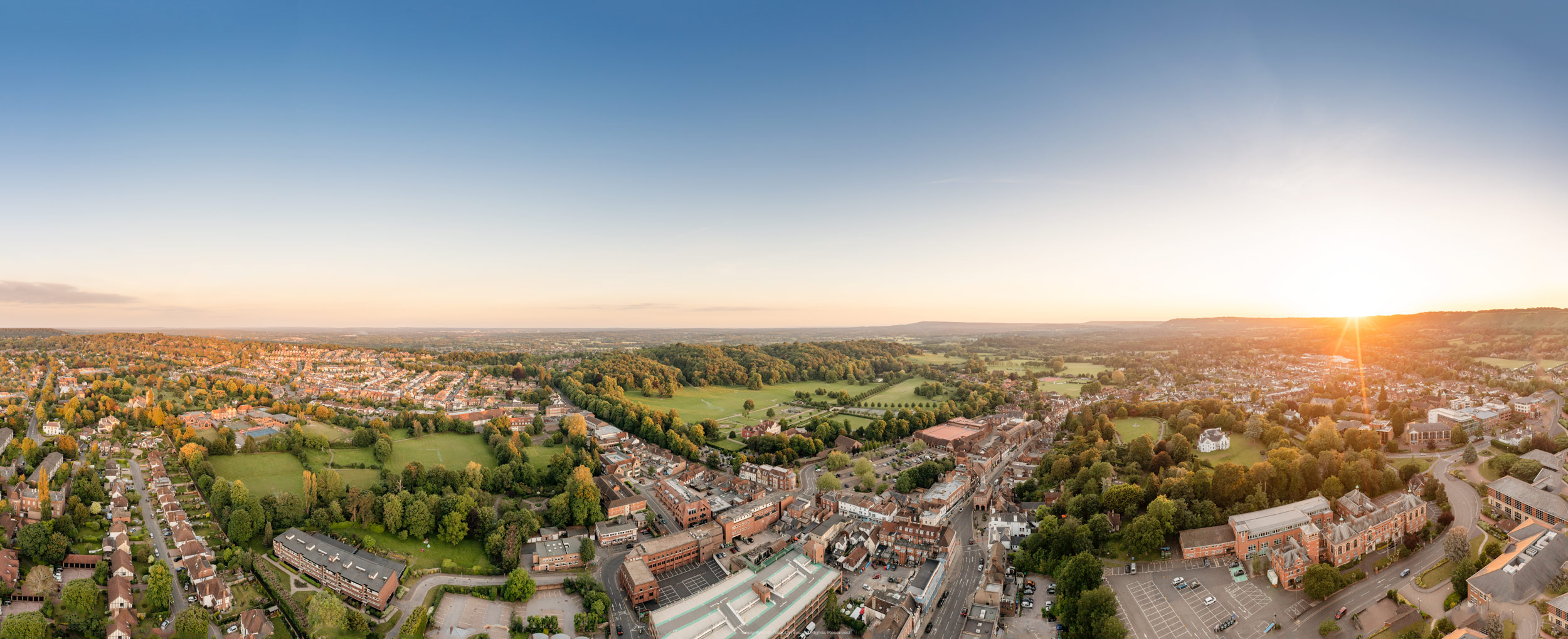 Drone Reigate Town Centre from North East