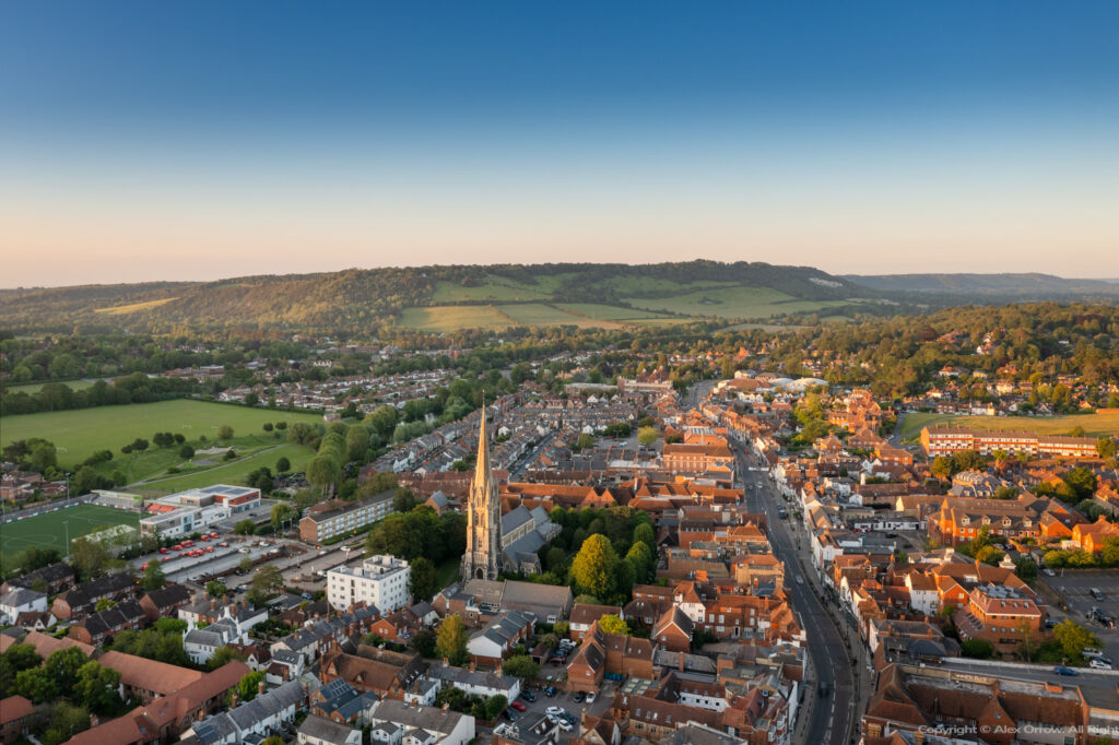 Dorking Town Centre drone view