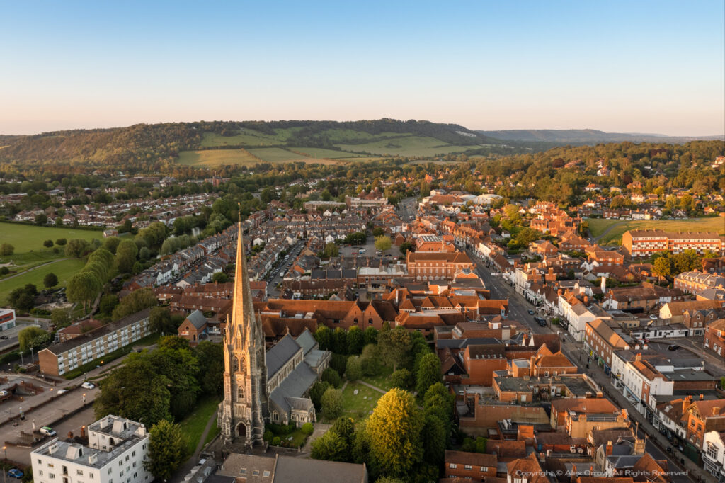 Dorking Town Centre with St. Martins Church drone view