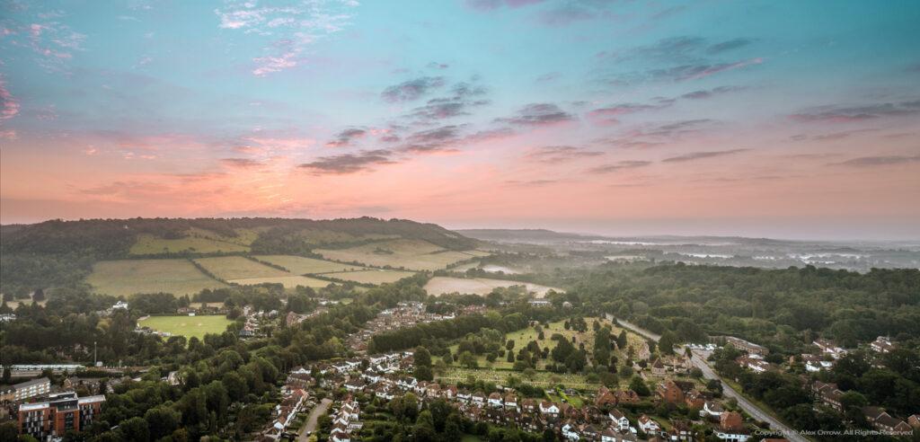 Dorking Box Hill drone view