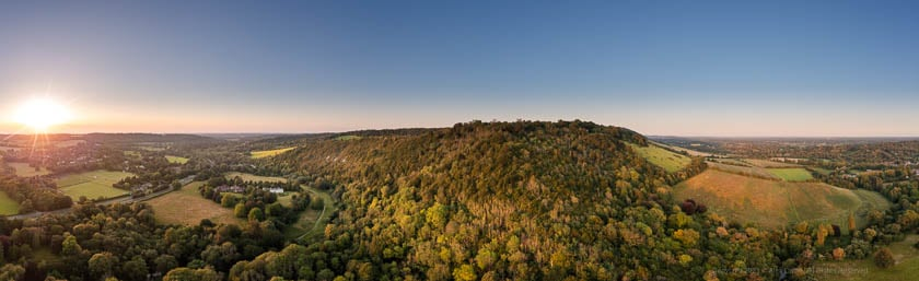 Dorking Surrey Box Hill from drone