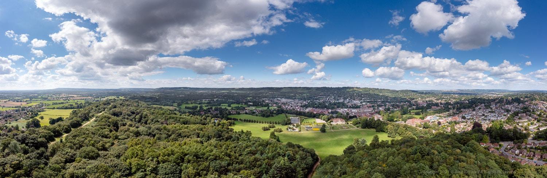 Panoramic Drone view Reigate Priory park