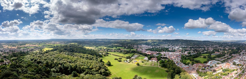 Drone panoramic view Reigate Priory park
