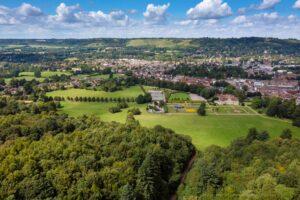 Drone view Reigate Priory park